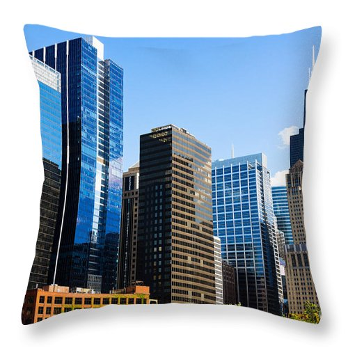 2012 Throw Pillow featuring the photograph Chicago Skyline Downtown City Buildings by Paul Velgos