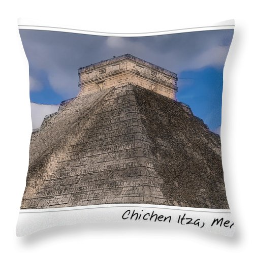 Ancient Throw Pillow featuring the photograph Chichen Itza Modern Seven Wonders Of The World In Mexico by Brandon Bourdages