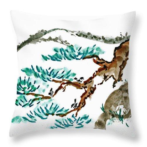 Body-spirit Throw Pillow featuring the painting Chick-a-dee Threesome by Ellen Miffitt