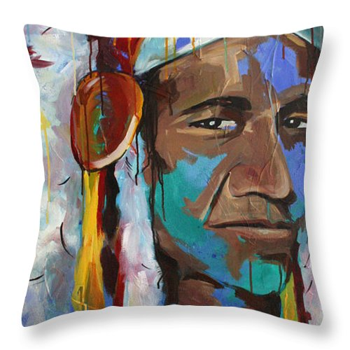 Art Throw Pillow featuring the painting Chiefing by Julia Pappas