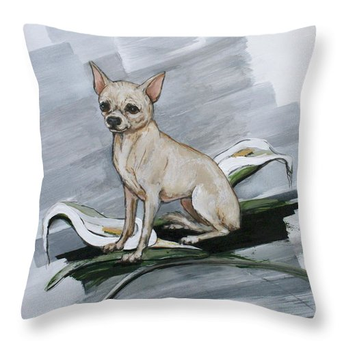 Chihuahua Throw Pillow featuring the painting Chihuahua I Thought You'd Never Come Home by Ron Hevener
