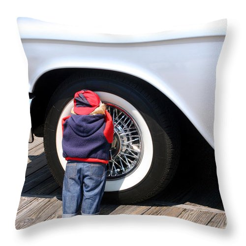 Doll Throw Pillow featuring the photograph Child Doll Hiding Against Antique Car by Susan Stevenson