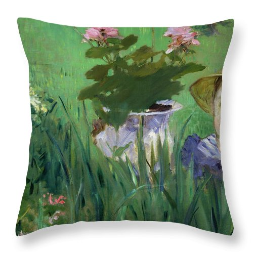 Child Throw Pillow featuring the painting Child In The Flowers by Edouard Manet