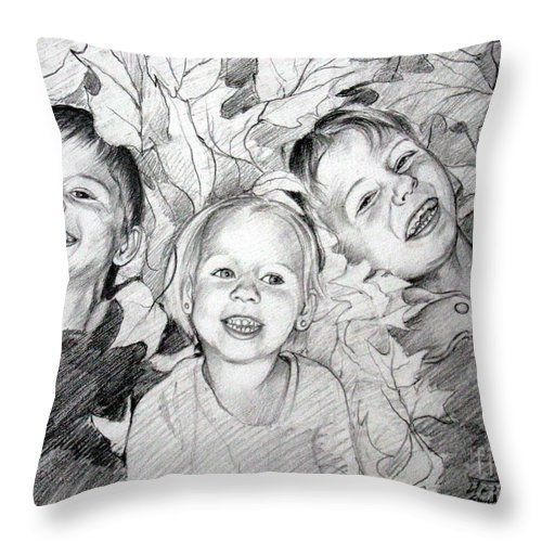 Children Throw Pillow featuring the drawing Children Playing In The Fallen Leaves by Christopher Shellhammer