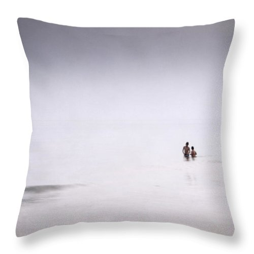 Textures Throw Pillow featuring the photograph Children Playing In The Silver Sea by Guido Montanes Castillo