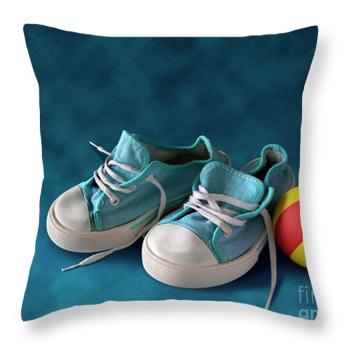 Child Throw Pillow featuring the photograph Children Sneakers by Carlos Caetano