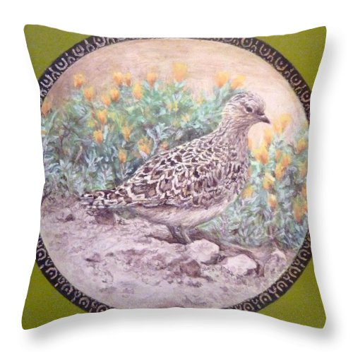 Chilean Tinamou Throw Pillow featuring the painting Chilean Tinamou by Ronald Osborne