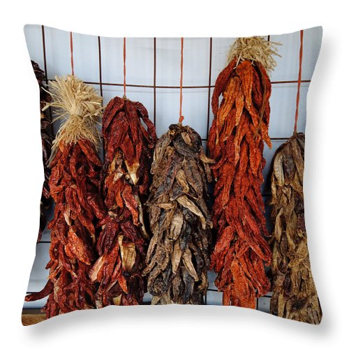 Chili Ristra Throw Pillow featuring the photograph Chili Ristra by Sean Wray