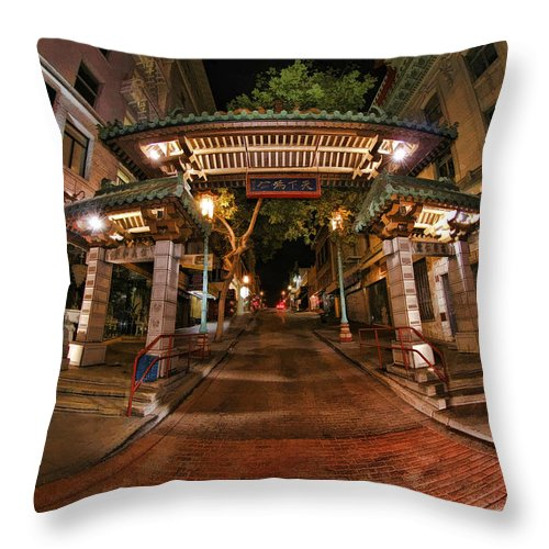 China Town Throw Pillow featuring the photograph Chinatown Entrance by Blake Richards