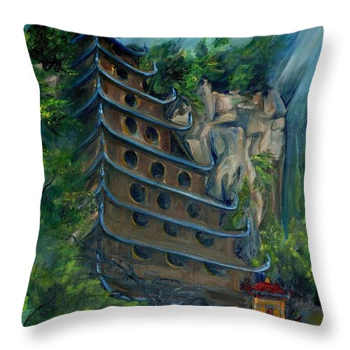 China Throw Pillow featuring the painting Chinese Hanging Temple by Jennifer Christenson