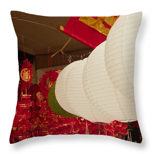 Chinese Lanterns Throw Pillow featuring the photograph Chinese Lanterns by Stephen Estell