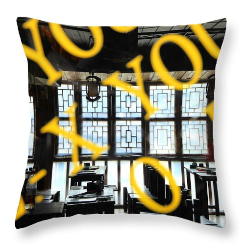 Chinese Throw Pillow featuring the photograph Chinese Restaurant by Valentino Visentini