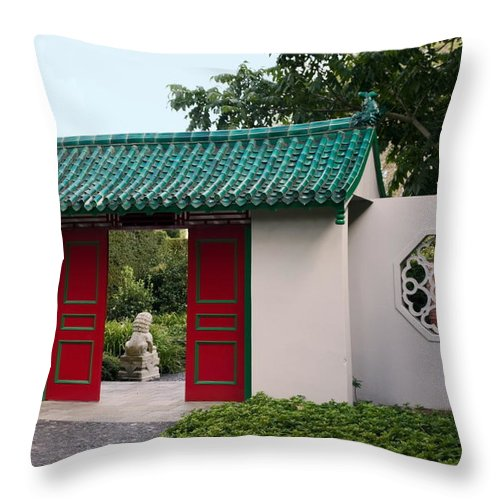 Walled Garden Throw Pillow featuring the photograph Chinese Scholar's Garden by Sally Weigand