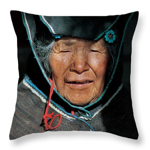 Grandmother Throw Pillow featuring the photograph Chipaya Culture Grandmother. Department Of Oruro. Republic Of Bolivia. by Eric Bauer
