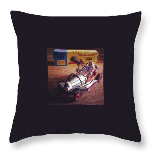 Car Throw Pillow featuring the photograph Chitty Chitty Bang Bang Corgi Toy by Katie Cupcakes