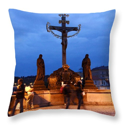 Christ Crucifixion Sculpture Throw Pillow featuring the photograph Christ Crucifixion Sculpture by Sally Weigand