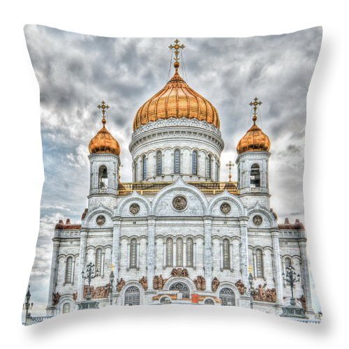Hdr Throw Pillow featuring the photograph Christ The Saviour Cathedral In Moscow. The Main Entrance by Michael Goyberg