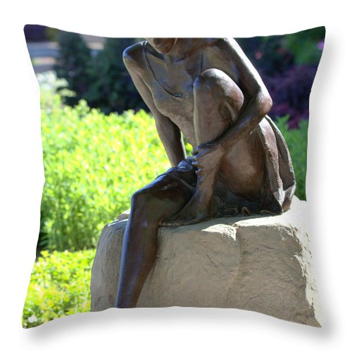 Statue Throw Pillow featuring the photograph Christine by Elizabeth Hart