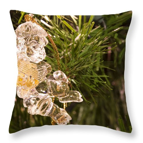Christmas Throw Pillow featuring the photograph Christmas Crystal Angel 1 B by John Brueske