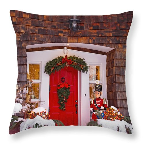 Art Throw Pillow featuring the photograph Christmas Decorations Around A Front by David Chapman