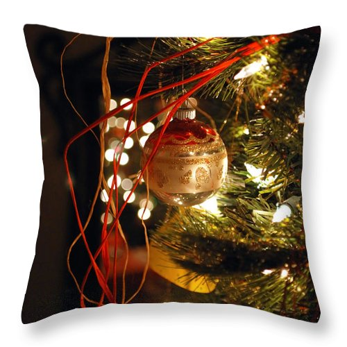 Festive Throw Pillow featuring the photograph Christmas Ornament by Charles Bacon Jr