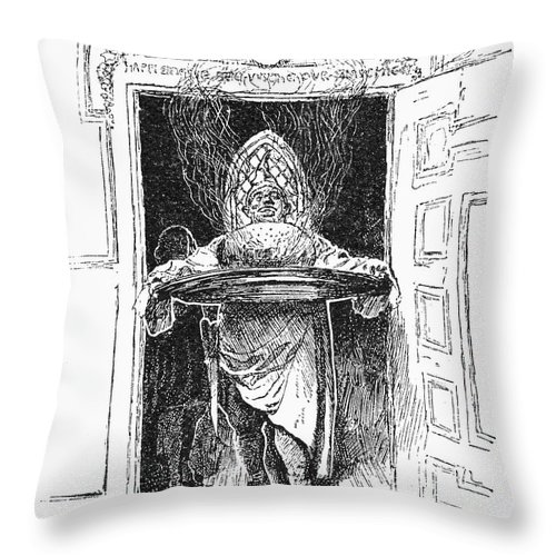 1882 Throw Pillow featuring the photograph Christmas Pudding, 1882 by Granger