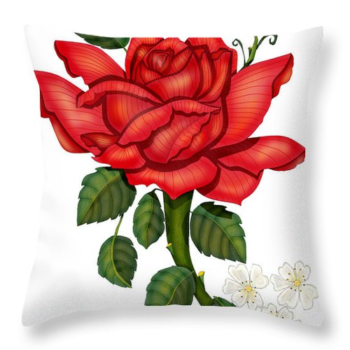 Hand-drawn Digital Art; Hand-drawn Digital Rose; Digital Rose; Anne Norskog Rose; Red Rose; Red Rose On White Background Throw Pillow featuring the painting Christmas Rose 2011 by Anne Norskog