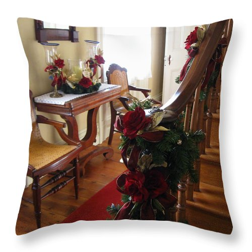 Red Rose Throw Pillow featuring the photograph Christmas Rose And Stairs by Nancy Patterson