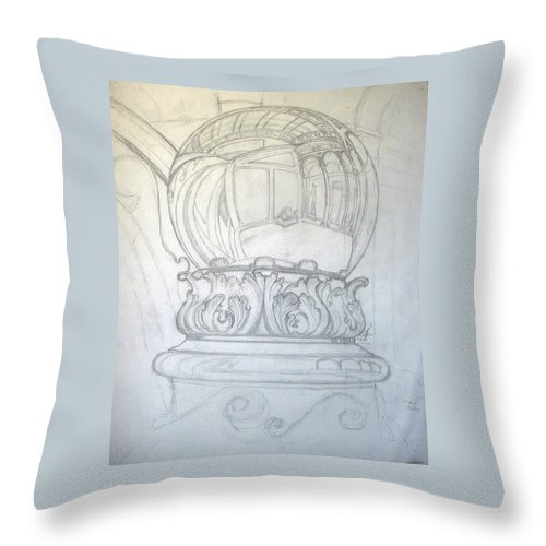 Ball Throw Pillow featuring the drawing Chrome Ball at M.I.C.A. by Robert Fenwick May Jr