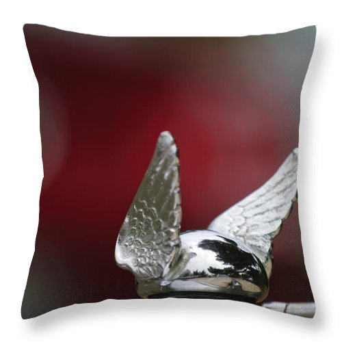 1920\'s Chrysler Throw Pillow featuring the photograph Chrysler Hood Ornament by Jill Reger