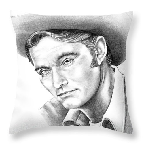 Drawing Throw Pillow featuring the drawing Chuck Conners-rifleman by Murphy Elliott