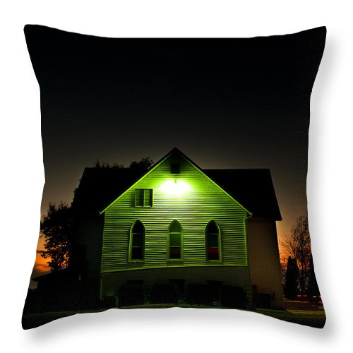 Landscape Throw Pillow featuring the photograph Church At Sunset by Cale Best