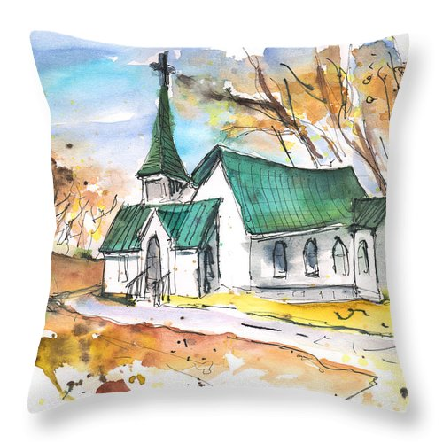 Travel Sketch Throw Pillow featuring the painting Church In Friars Point Mississippi by Miki De Goodaboom
