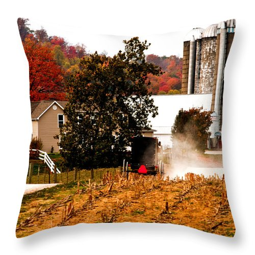 Amish Farm Throw Pillow featuring the photograph Church Is Over Heading Home by Randall Branham
