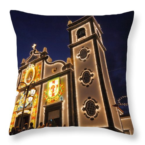 Night Throw Pillow featuring the photograph Church Lighting At Night by Gaspar Avila