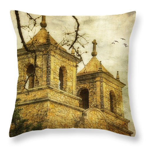 Textured Throw Pillow featuring the photograph Church Towers by Joan Bertucci
