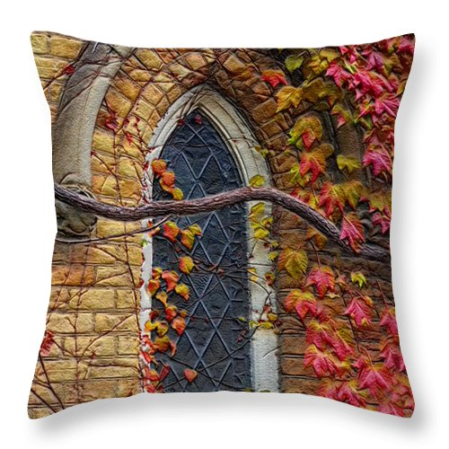Church Throw Pillow featuring the photograph Church Window Autumn by Andrew Fare