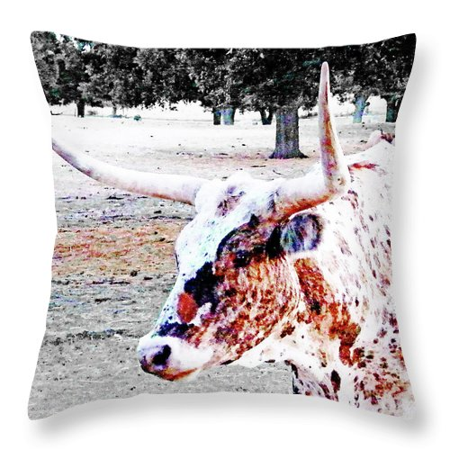 Steer Throw Pillow featuring the digital art Cibolo Ranch Steer by Lizi Beard-Ward