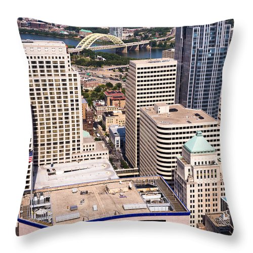 2012 Throw Pillow featuring the photograph Cincinnati Aerial Skyline Downtown City Buildings by Paul Velgos