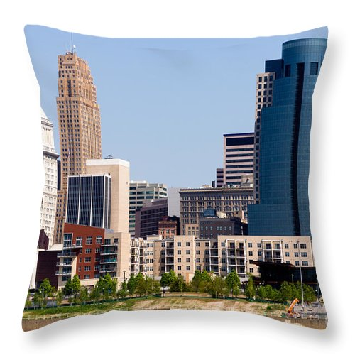 2012 Throw Pillow featuring the photograph Cincinnati Downtown City Buildings Cityscape by Paul Velgos