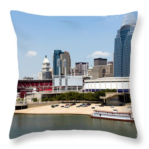 2012 Throw Pillow featuring the photograph Cincinnati Ohio Skyline And Riverfront by Paul Velgos