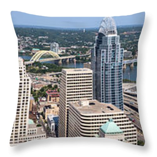 2012 Throw Pillow featuring the photograph Cincinnati Panorama Aerial Skyline Downtown City Buildings by Paul Velgos