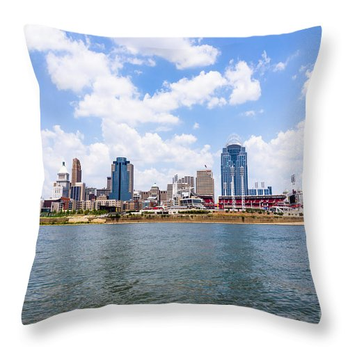 2012 Throw Pillow featuring the photograph Cincinnati Skyline And Downtown City Buildings by Paul Velgos