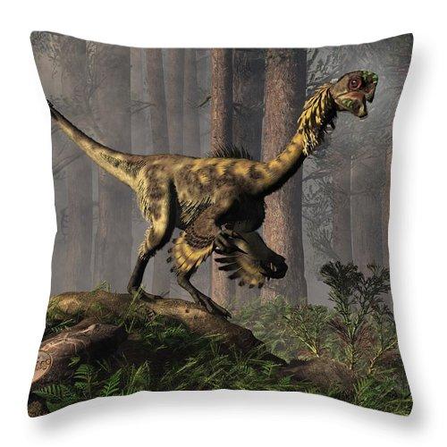 Extinct Throw Pillow featuring the digital art Citipati by Daniel Eskridge