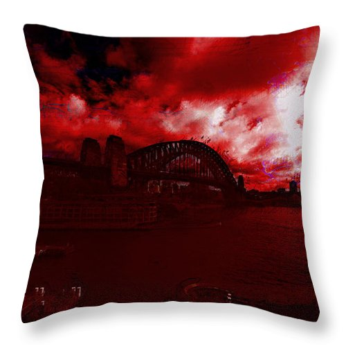 Sydney Harbor Bridge Throw Pillow featuring the photograph City Burning by Douglas Barnard