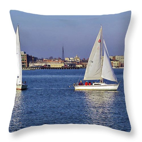 2d Throw Pillow featuring the photograph City Harbor Sailing by Brian Wallace
