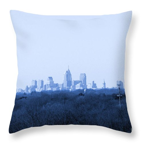 Philadelphia Throw Pillow featuring the photograph City In The Distance Blue Tint by Susan Stevenson