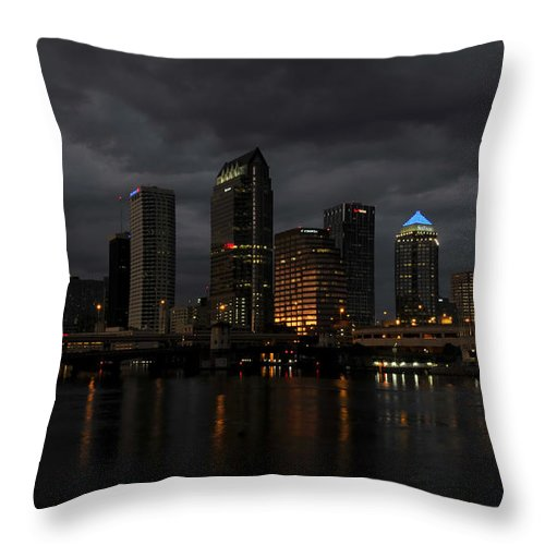 Tampa Bay Florida Throw Pillow featuring the photograph City In The Storm by David Lee Thompson