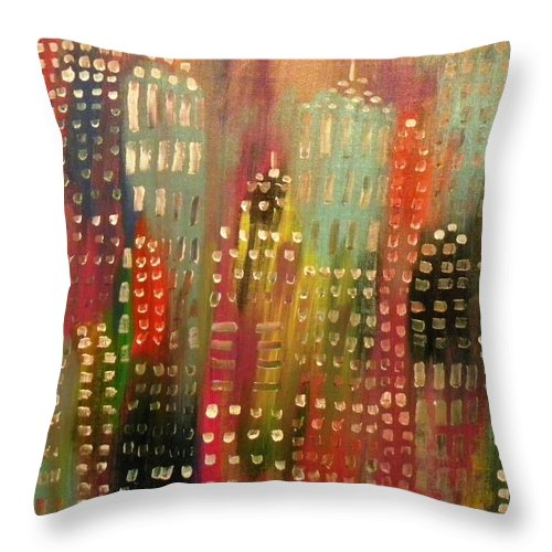 City Throw Pillow featuring the painting City Lights by Etta Harris