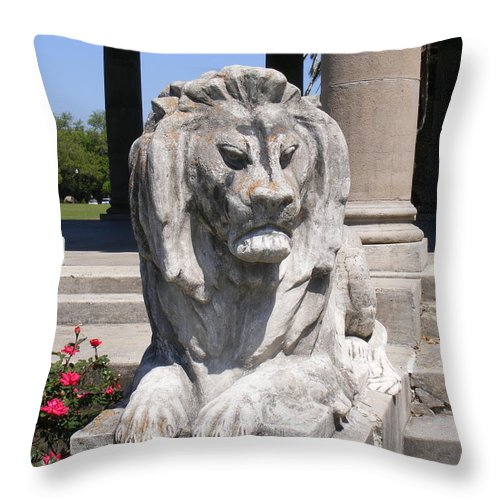 Lion Throw Pillow featuring the photograph City Park Guardian by Renee Barnes